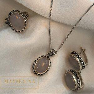 Jewelry - STERLING SILVER NATURAL ROSE QUARTZ GEMSTONE SET